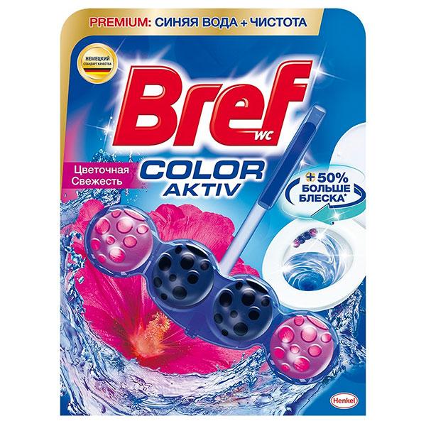 Средство для чистки унитаза Bref color-aktiv цветочная свежесть 50 гр фото