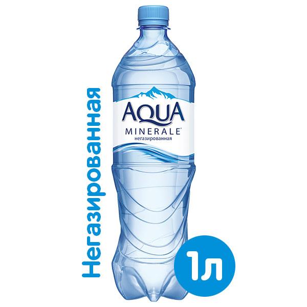 Вода Аква Минерале 1 литр, без газа, пэт, 12 шт. в уп. фото