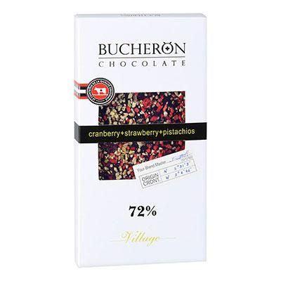 Шоколад Bucheron 72% какао, клубника и фисташки 100 гр фото