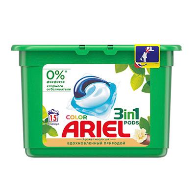 Гель-капсулы для стирки Ariel Color масло Ши 15 шт фото