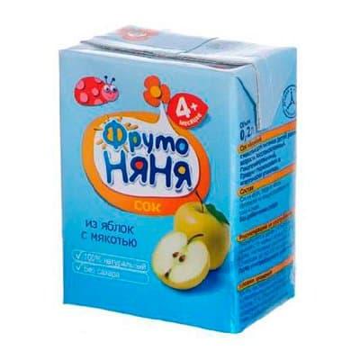 Фруто Няня яблочный с мякотью 0,2л (9шт.)