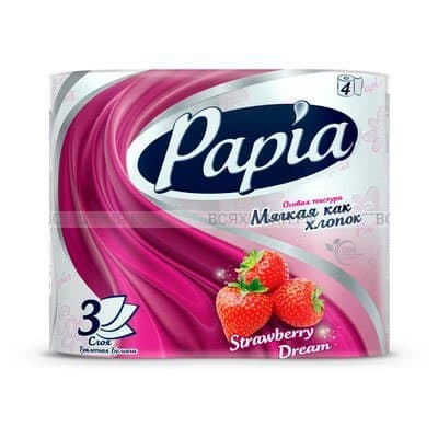 Туалетная бумага Papia Strawberry Dream клубничная мечта белая с рисунком 3 слоя (4шт) фото