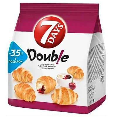 Мини-круассаны 7Days Double с двойной начинкой вишня-ваниль 300 гр