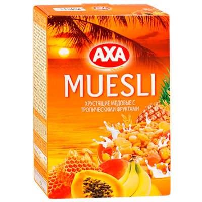 Мюсли АХА хрустящие медовые с тропическими фруктами 270г (1шт)
