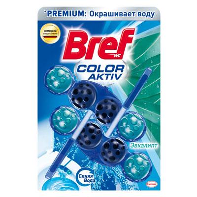 Средство для чистки унитаза Bref Premium Color Aktiv блок  синяя вода Эвкалипт 2х50 гр