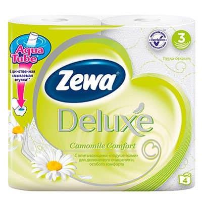 Туалетная бумага Zewa Deluxe ромашка 3 слоя (4шт) фото