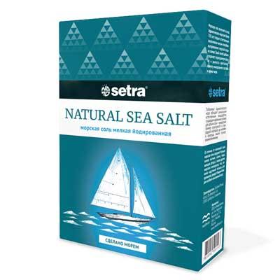 Соль пищевая Setra морская мелкая йодированная 1кг