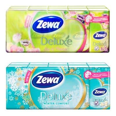 Носовые платочки Zewa Deluxe без аромата 3 слоя (10х10 шт)