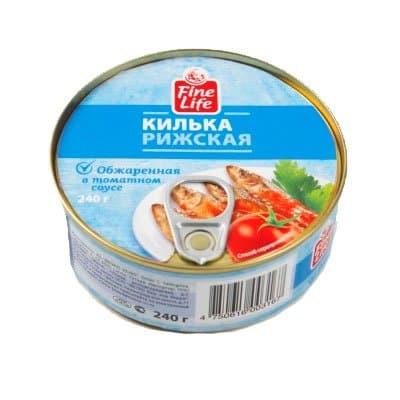 Килька Fine Life Рижская обжаренная в томатном соусе 240гр (2шт)