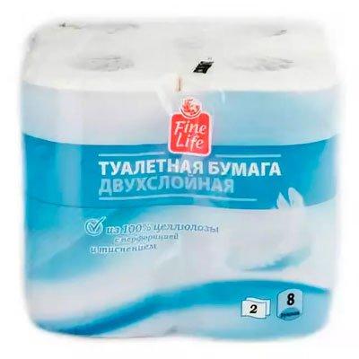 Туалетная бумага Fine Life белая 2 слоя (8шт) фото