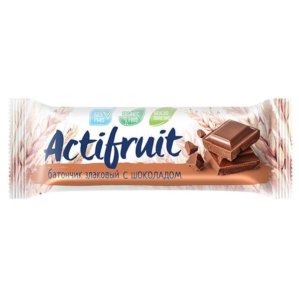 Батончик-мюсли Actifruit злаковый с шоколадом 24 гр