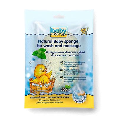 Губка для мытья BabyLine детская массажная натуральная фото