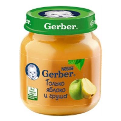 Пюре Gerber яблоко и груша 130гр (4шт)