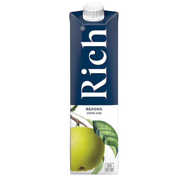 Сок Rich яблоко 1 литр, 12 шт. в уп.
