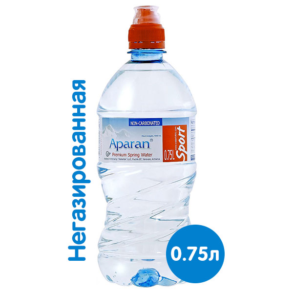 Вода Апаран 0.75 литра, спорт, без газа, пэт, 6 шт. в уп.
