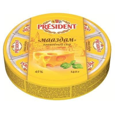 Сыр President Мааздам плавленый 8 треугольников 45% БЗМЖ 140 гр фото