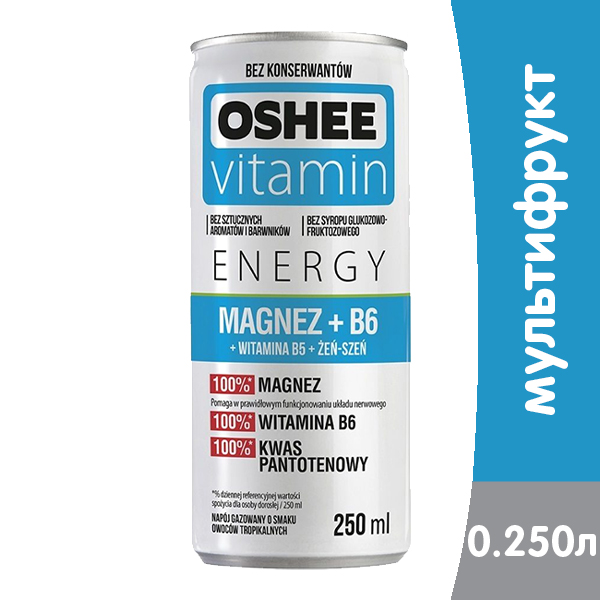 Функциональный напиток Oshee Energy Magnez+B6 мультифрукт 0.25 литра, ж/б, 24 шт. в уп. фото