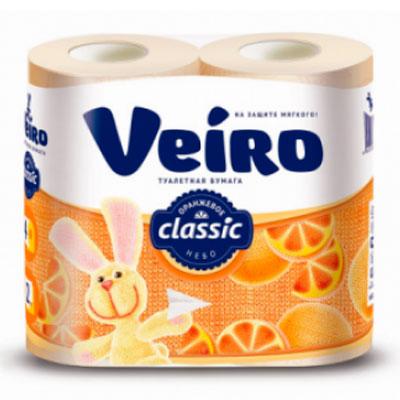 Туалетная Бумага Veiro Classic желтая 2 слоя (4 шт) фото