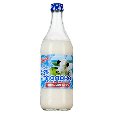 Молоко Можайское стерилизованное 3,2% БЗМЖ 0.45 литра, стекло