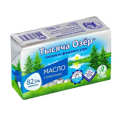 Масло Тысяча Озер сливочное 82,5% БЗМЖ 180 гр фото