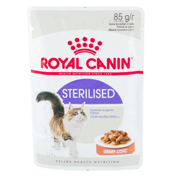 Консервы Royal Canin Sterilised для кастрированных и стерилизованных котов и кошек кусочки в соусе 85 гр (12 шт) фото