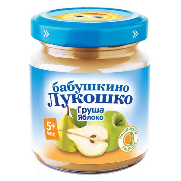 Пюре Бабушкино Лукошко груша и яблоко без сахара (100гр) (6шт) фото