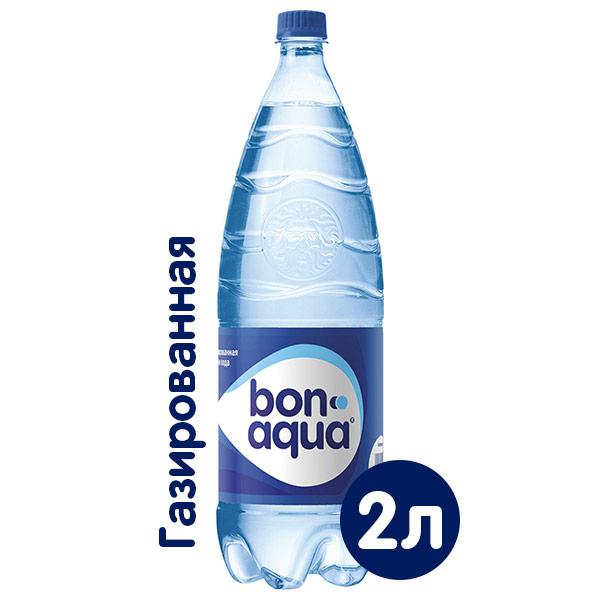 Вода BonAqua / БонАква 2 литра, газ, пэт, 6 шт. в уп. фото