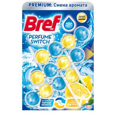 Средство для чистки унитаза Bref смена аромата морская свежесть-цитрус 3х50 гр фото
