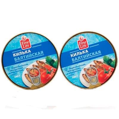 Килька Fine Life балтийская обжаренная в томатном соусе 240гр (2шт)