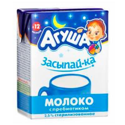 Молоко Агуша Засыпай-ка с пребиотиком с 12-ти мес. 2,5% БЗМЖ 0.2 литра, 18 шт.в уп.