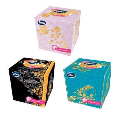 Косметические салфетки Zewa Collection Box 3-х сл.белые (60шт)