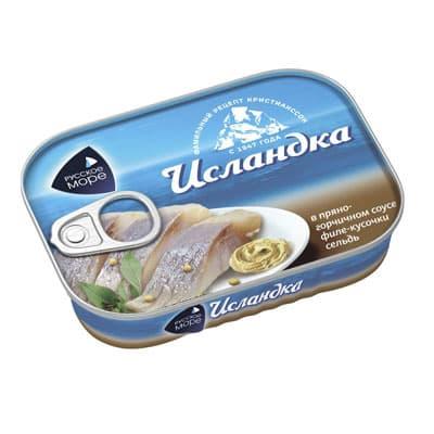 Исландка cельдь кусочки филе в пряно-горчичном соусе Русское Море 115 гр фото