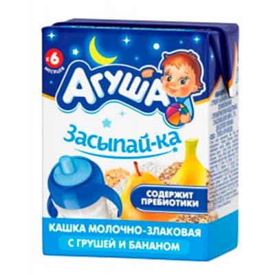 Каша детская Агуша молочно-злаковая с грушей и бананом с 6 месяцев 200 мл., 4 шт. в уп.