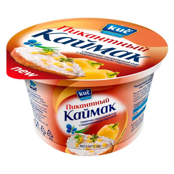 Сыр KUC Сливочно-творожный Пикантный Каймак с перчиком 70% 250 гр