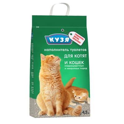 Наполнитель для кошачьих туалетов Кузя для котят и кошек гладкошерстных и некрупных пород 4.5 л фото