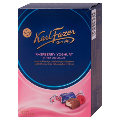 Конфеты Fazer Karl Fazer с начинкой из малинового йогурта 150 гр фото