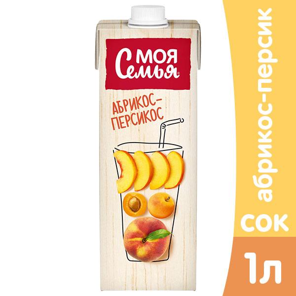 Нектар Моя семья яблоко-персик-абрикос 1 литр, 4 шт. в уп. фото