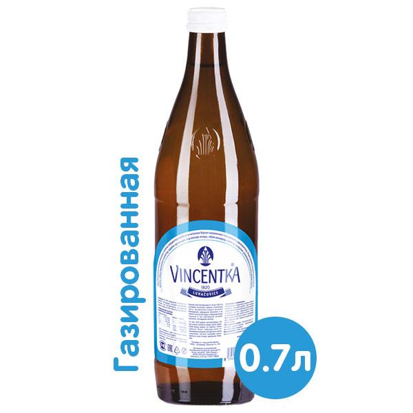 Вода Vincentka 0.7 литра, газ, стекло, 6 шт. в уп.