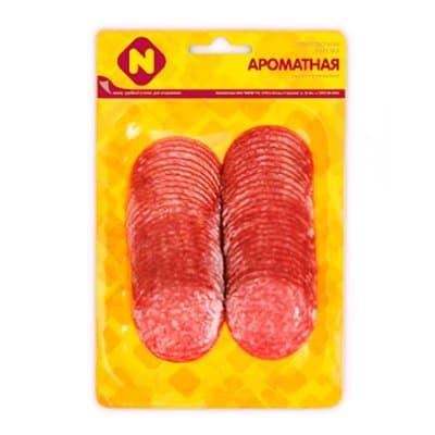 Колбаса Останкино Ароматная сырокопченая нарезка 100 гр фото