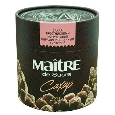 Сахар Мэтр (Maitre) тростниковый коричневый нерафинированный кусковой 270гр