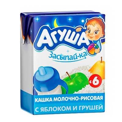 Каша детская Агуша Засыпай-ка молочно-рисовая с яблоком и грушей с 6 месяцев 2,7%, 200 мл, 4 шт. в уп.