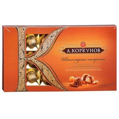 Конфеты Коркунов молочный шоколад с цельным фундуком и светлой ореховой начинкой 192 гр