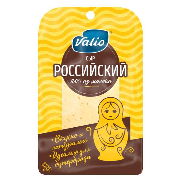 Сыр Valio Российский 50% нарезка БЗМЖ 120 гр фото
