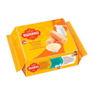 Вафельные рулетики Яшкино со вкусом сгущенного молока 160 гр