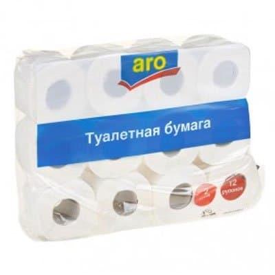Туалетная бумага Aro белая 2-ух сл (12шт)
