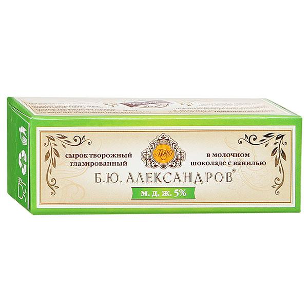 Сырок Б.Ю.Александров глазированный в молочном шоколаде с ванилью 26% БЗМЖ 50 гр фото