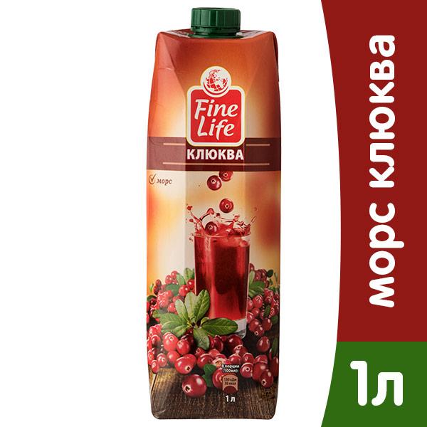 Морс Fine Life клюква 1 литр, 6 шт. в уп. фото
