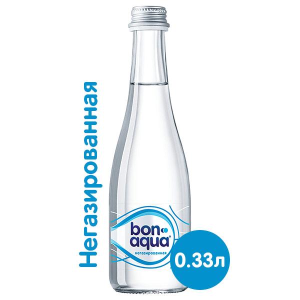 Вода BonAqua / БонАква 0.33 литра, без газа, стекло, 12 шт. в уп. фото