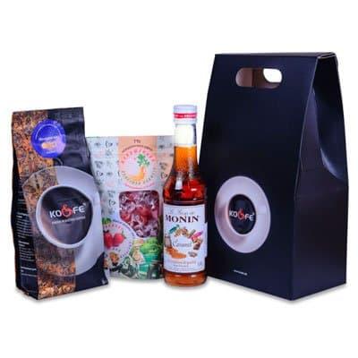 Подарочный набор №6 (Кофе Флоренсия, Сироп Monin ваниль 0,25л, леденцы для взрослых клубника)