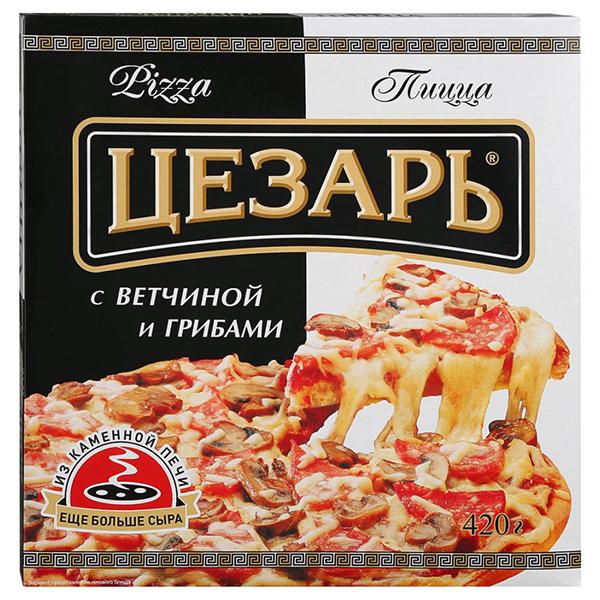 Пицца Цезарь с ветчиной и грибами 420 гр